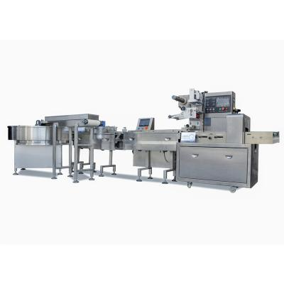 Automatic food feeding and packaging line for mooncake/small cake/biscuits/candy/rice krispies treats
